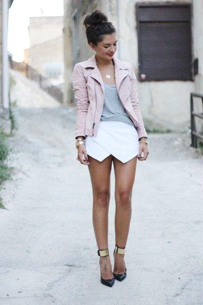 pink moto jacket white short