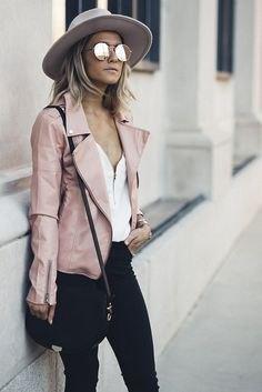 pink felt hat black skinny jeans