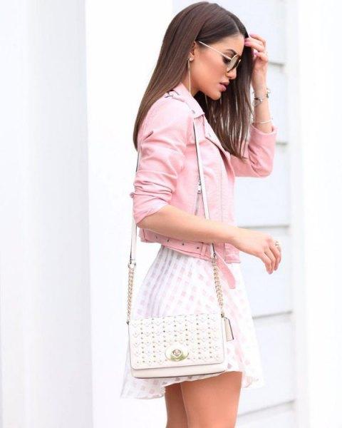 pink jacket white skater dress