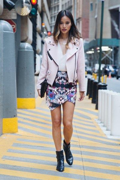 pink moto jacket floral mini wrap dress