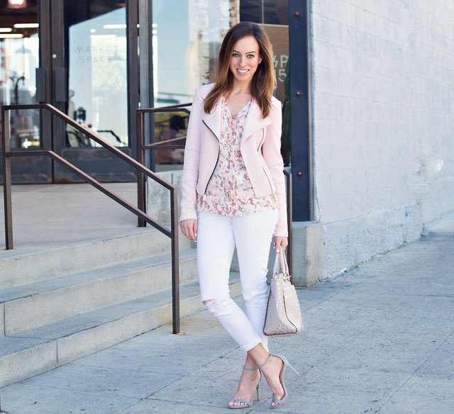 floral shirt white skinny jeans