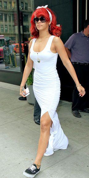 white tank dress rihanna