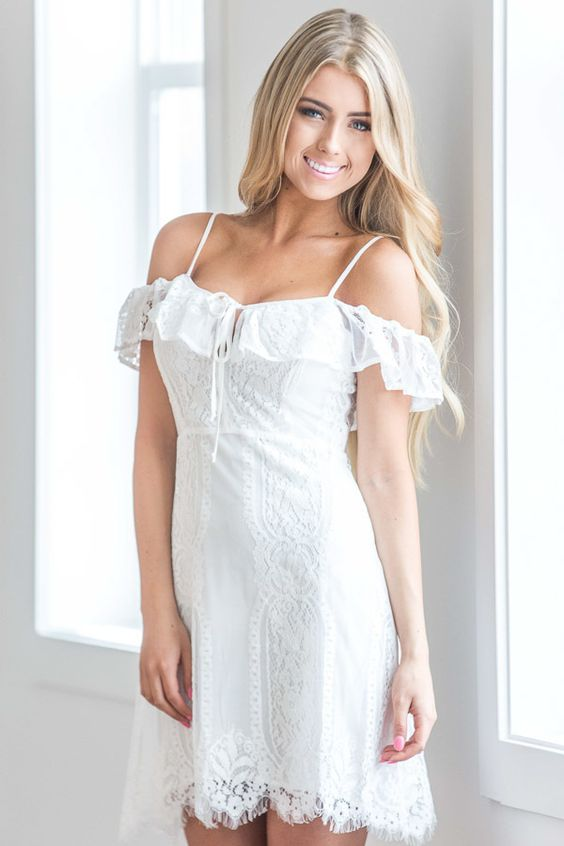 lace with white tank dress