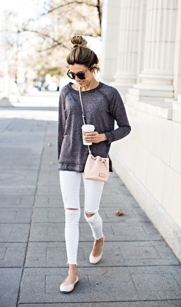 Heather gray chunky sweater white ripped skinny jeans