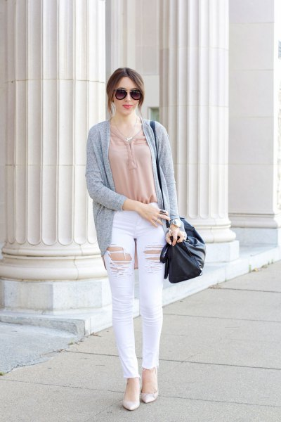 white distressed jeans pink top gray cardigan