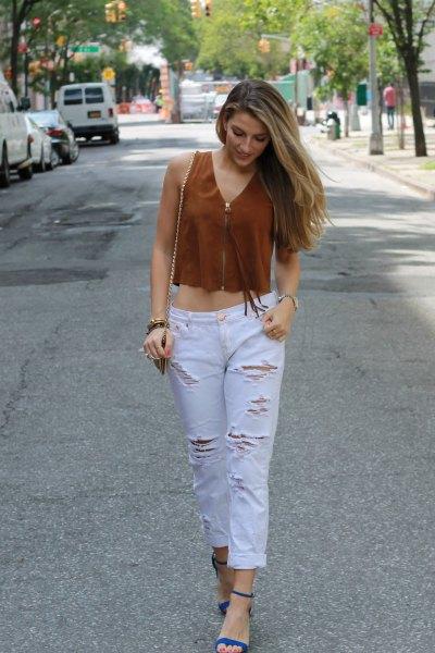 green v-neck crop top white distressed boyfriend jeans