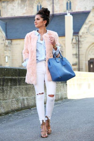 blue shirt pink faux fur