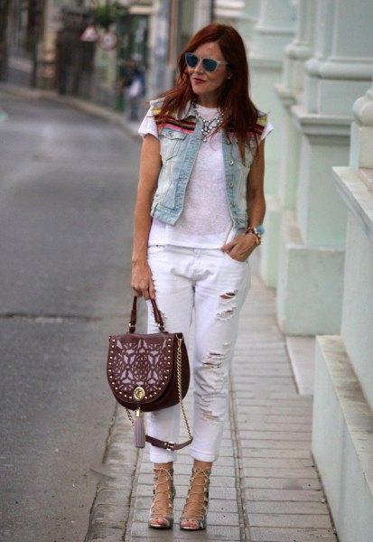 white ripped boyfriend jeans denim vest