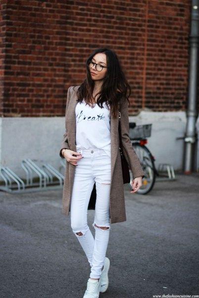 gray long wool jacket