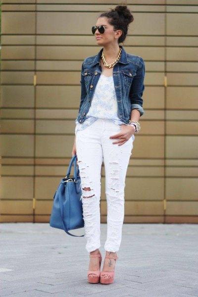 ripped white white denim jacket