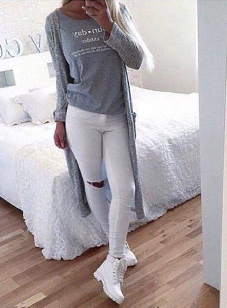 white jeans gray long knit cardigan