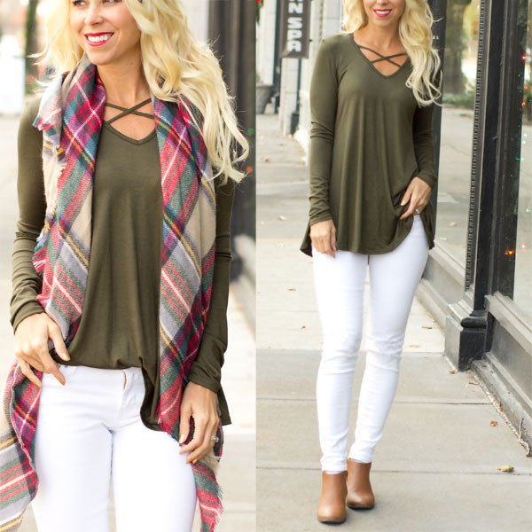 olive criss cross long sleeve tunic top