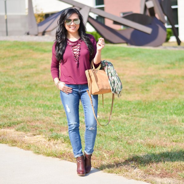 pink lace up long sleeve tee jeans
