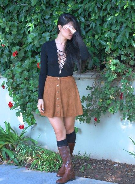 black deep v-neck top suede skirt skirt