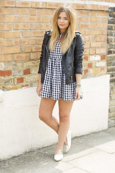 checkered smock dress black leather jacket