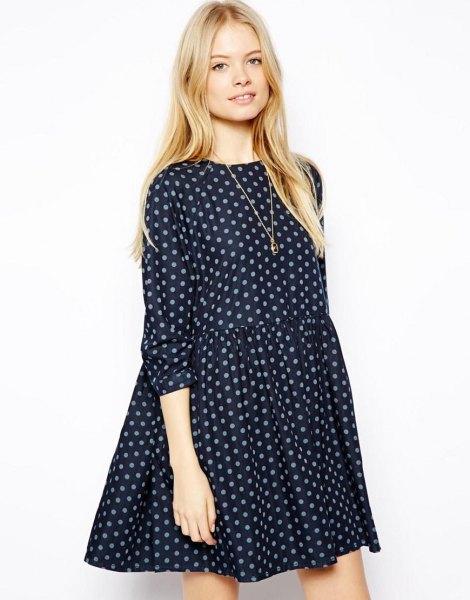 black and gray polka dot swing dress