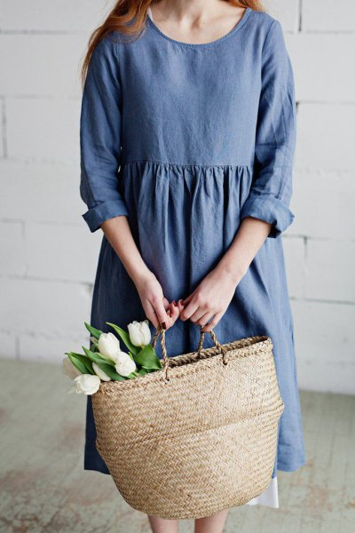 chambray midi smock dress