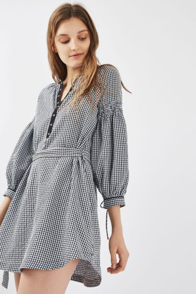 plaid puff sleeve mini dress