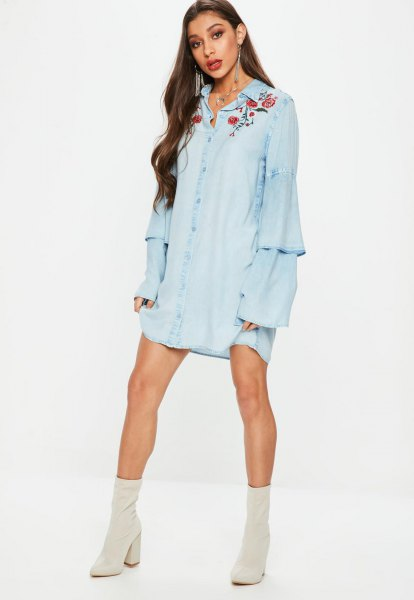 embroidered chambray mini smock dress pink boots