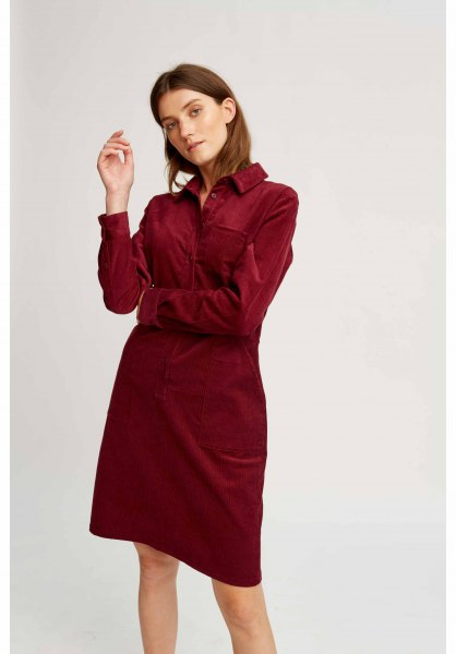 brown corduroy shirt color matching pencil skirt