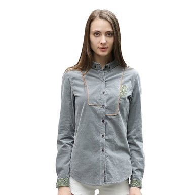 gray embroidered shirt white jeans