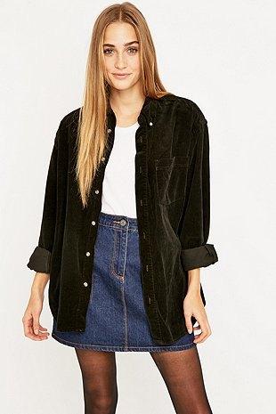 oversized corduroy shirt as jacket