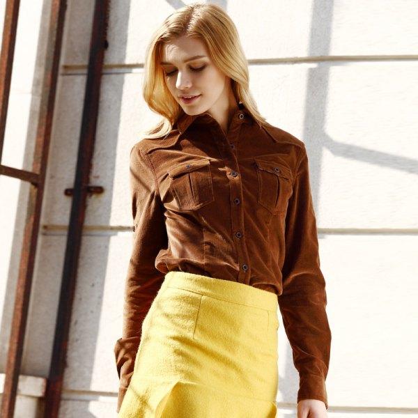 brown corduroy shirt yellow wool bodycon mini skirt