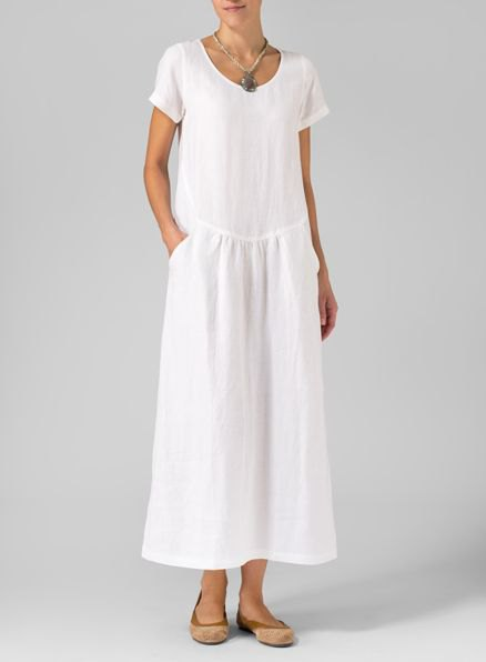 white short sleeve maxi linen change dress