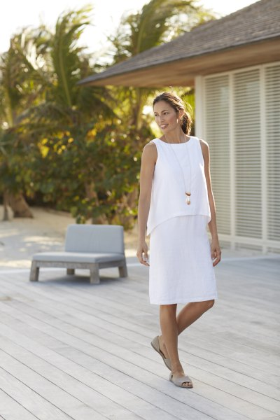 white sleeveless two-layer knee-length dress