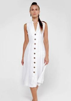 sleeveless button midi sheath linen dress