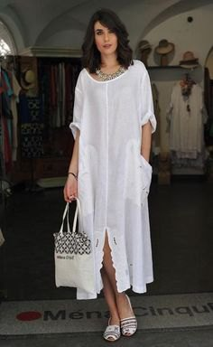 white boat neck maxi linen shirt dress