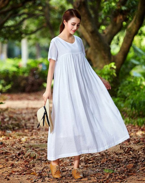 babydoll maxi linen dress