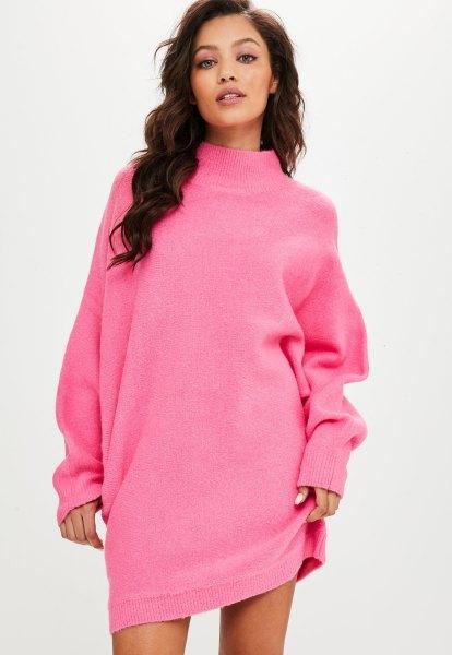 shocking pink mock neck batwing sweater dress