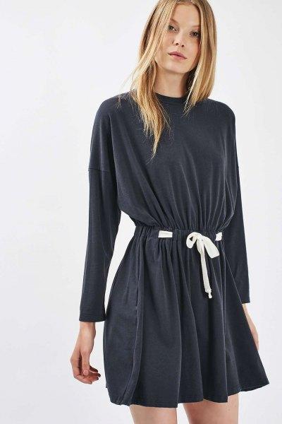 gray belt batwing flare mini dress