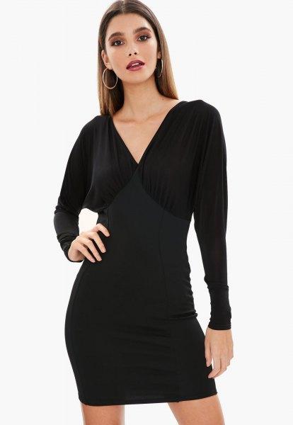 black v-neck batwing mini dress