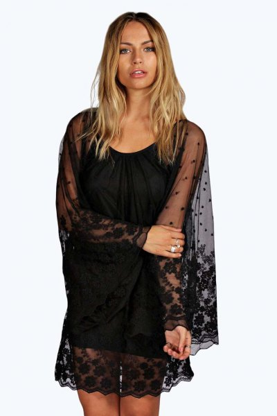 black shift dress lace semi clean overlay