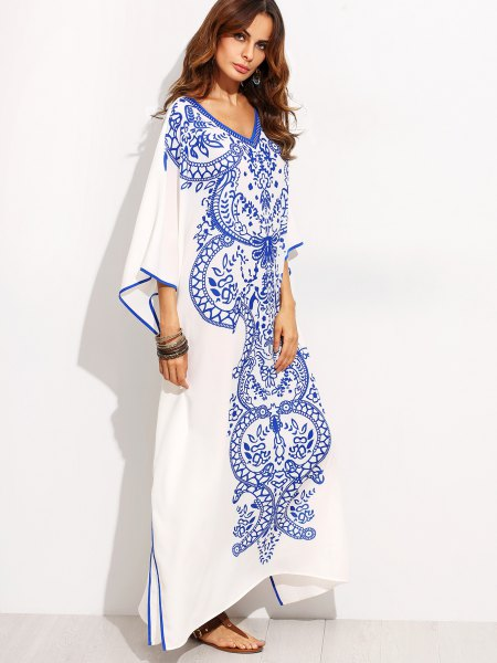 white and blue tribal maxi shift dress