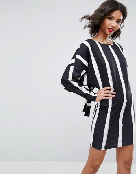 navy and white vertical striped shift dress
