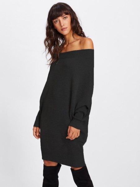 black off shoulder chunky sweater dress