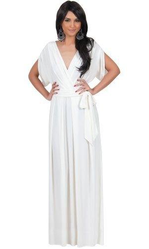 white v-neck floor-length dress
