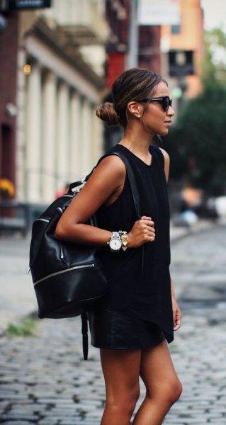 black mini shirt dress leather backpack