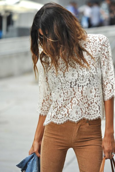 white three quarters sleeve lace top camel suede pants