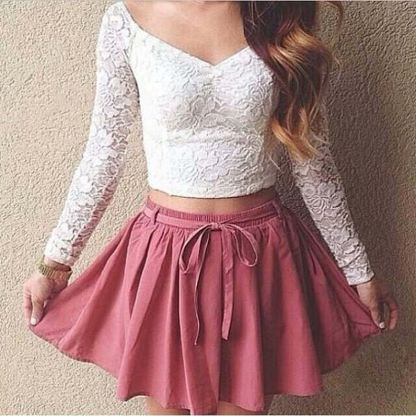cropped lace top redness pink skater mini skirt