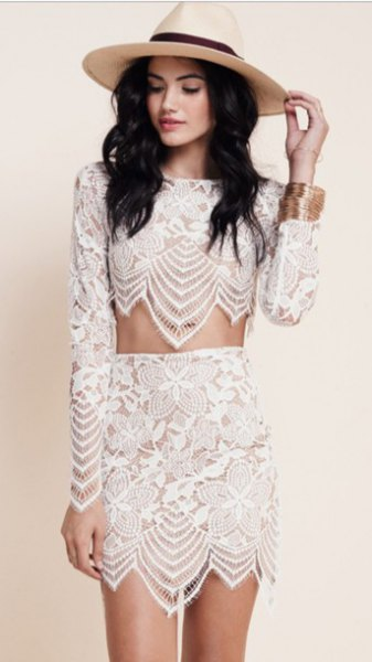 white lace dress in two parts