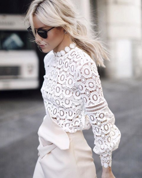 white mock neck lace blouse leather wrap skirt
