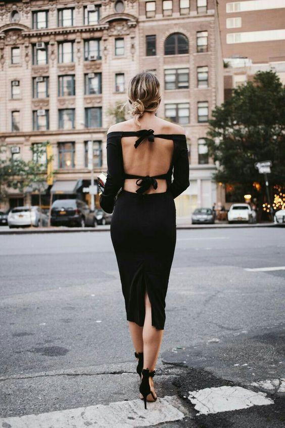 bend back dress black small