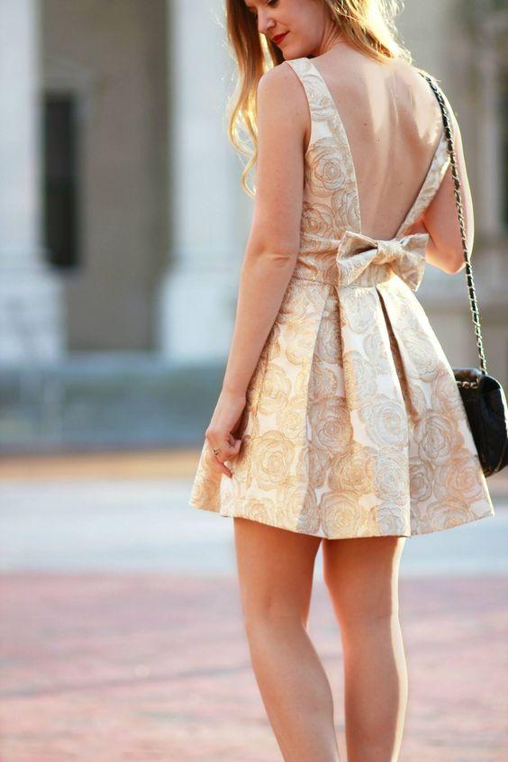 bend back dress metallic