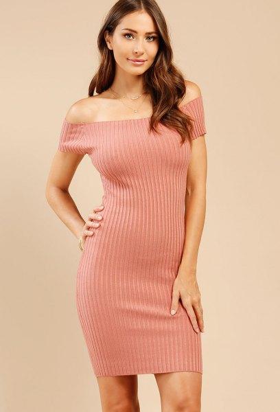 blush pink ribs of shoulder bodycon dress