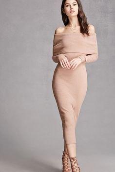pink folded shoulders midi bodycon dress nude heels