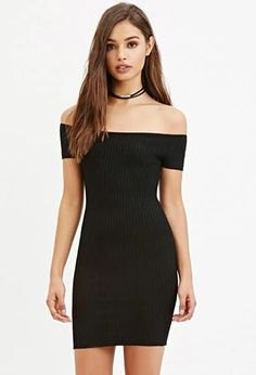 black off shoulder mini bodycon dress